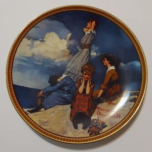 "Norman Rockwell plate ""Waiting on the shore""."